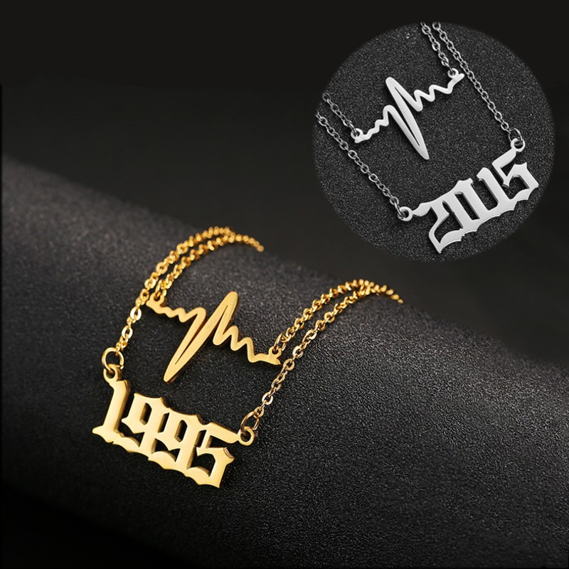 Personalized Year Number Necklace Heartbeat Pendant Stainless Steel Layered Necklaces Gold Chain 1980-2019 Birthday Year Gifts(China)