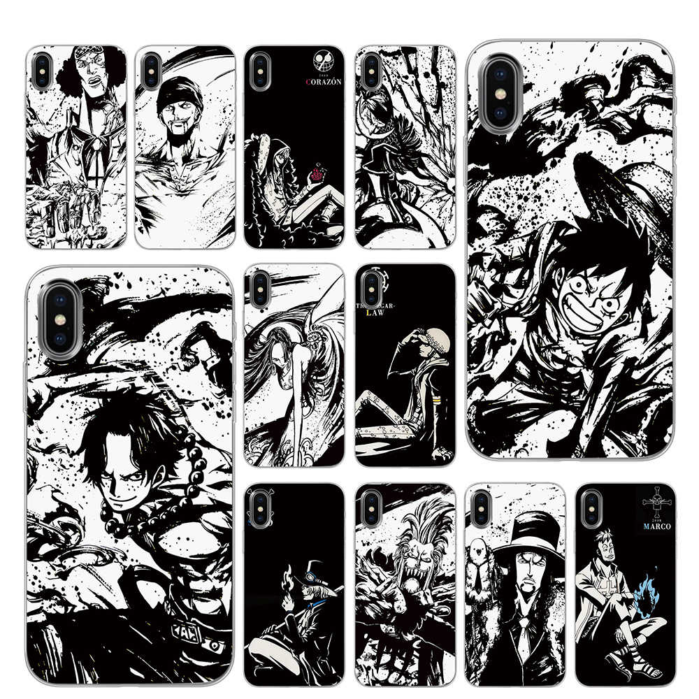 Black White One Piece Black TPU Case cover For iPhone 5 5S 6 6s 7 8 Plus X XS XR 11 Pro Max