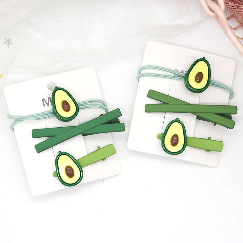 1-3Pcs/set Cute Green Avocado Hairpin Rubber Bands Headwear Set Fashion Fruit Hair Clips Hair Bands Women Girls Hair Accessories