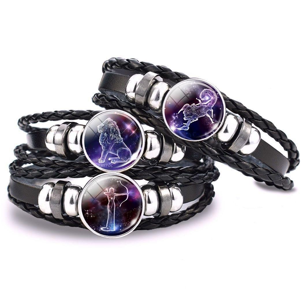 12 Zodiac Signs Glass Dome Leather Bracelet Fashion Jewelry for Couple Aries Taurus Leo Cancer Aquarius Pisces Bangle Bracelet