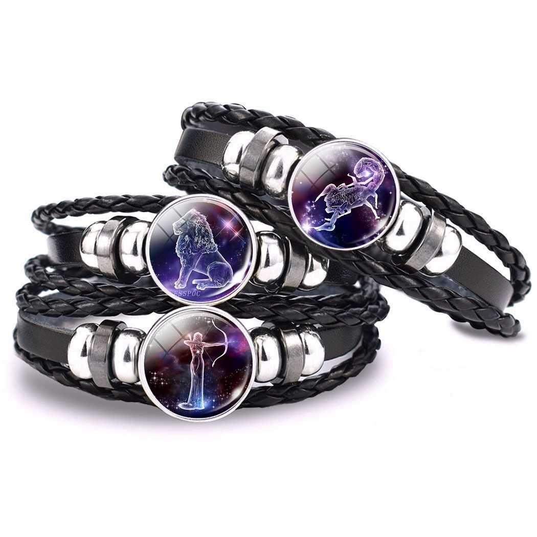 12 znaki zodiaku szklana kopuła skórzana bransoletka biżuteria dla pary baran Taurus Leo Cancer Aquarius ryby bransoletka