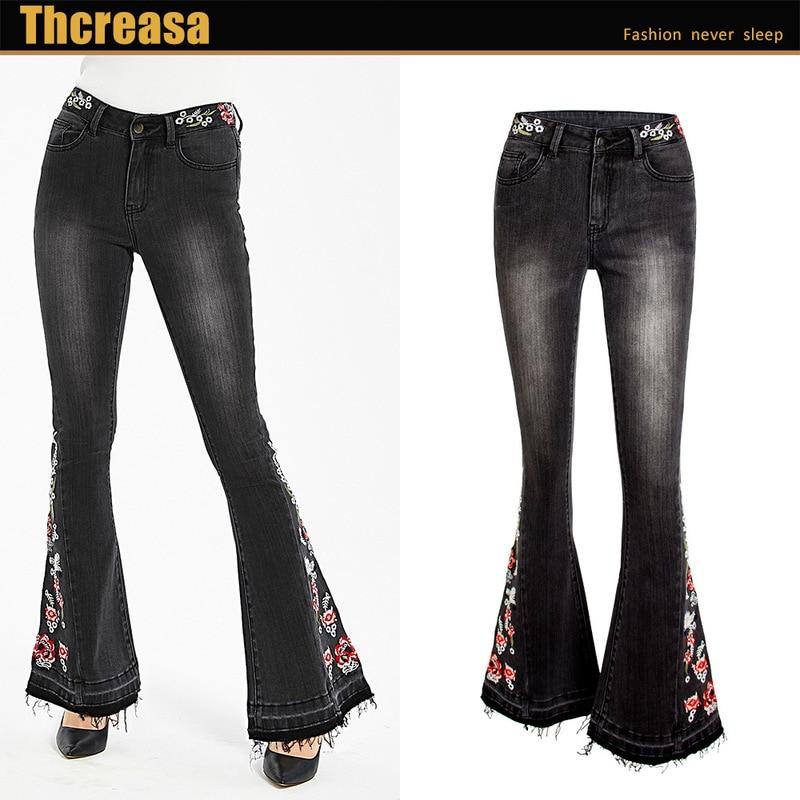 New  Cross Border Popular Women S Elastic Heavy Industry Embroidery Flower Flare Pants Black Jeans Pants Women