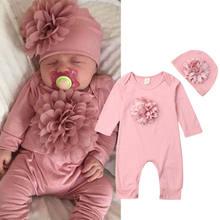 0-18m 2 pçs roupas da menina do bebê recém-nascido flor 3d macacão macacão chapéu conjunto de roupa