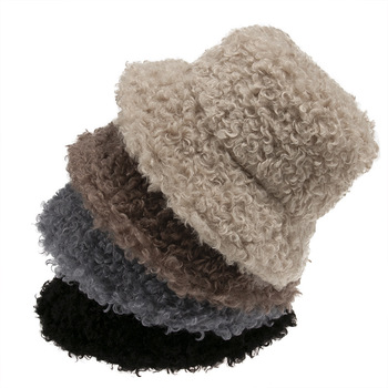 Women Winter Solid Lamb Faux Fur Bucket Hat Outdoor Warm Fluffy Fishing Bob Fisherman Foldable Panama Casual Soft Hat Gorros image