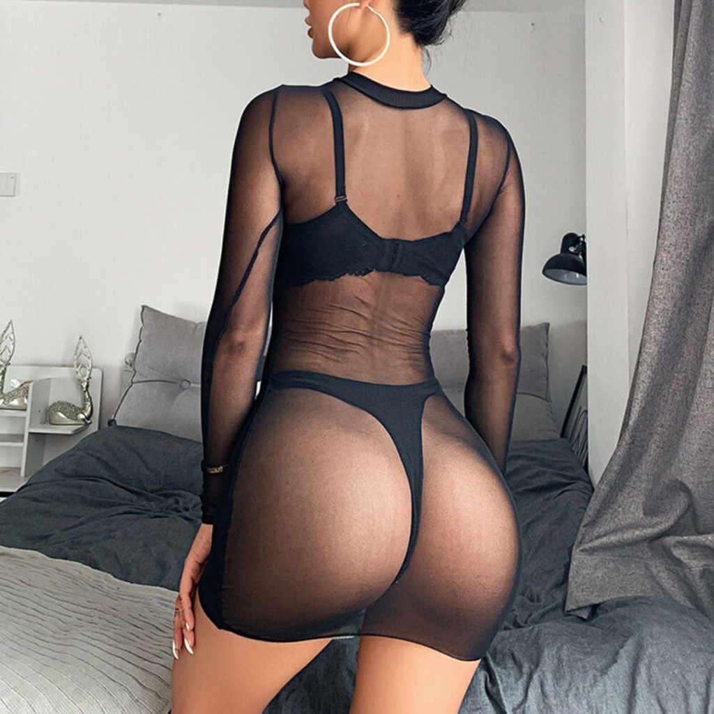 S-6XL Ukuran Besar Wanita Pakaian Dalam Seksi Wanita Sheer Mesh See-Through Lengan Panjang Tanaman Tops Kasual Clubwear Mini dress Baju Tidur