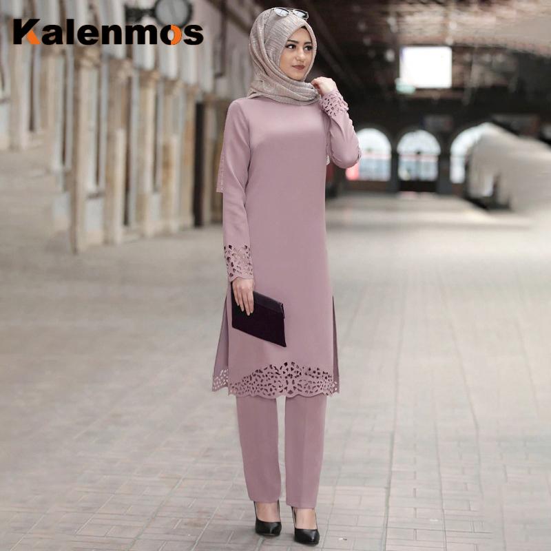 Plus Size 3xl Muslim 2Pecs Tops Pants Sets Women Ramadan Eid Turkey Abaya Party Dress Africa Kaftan Islamic Pakistan Dubai Ropa