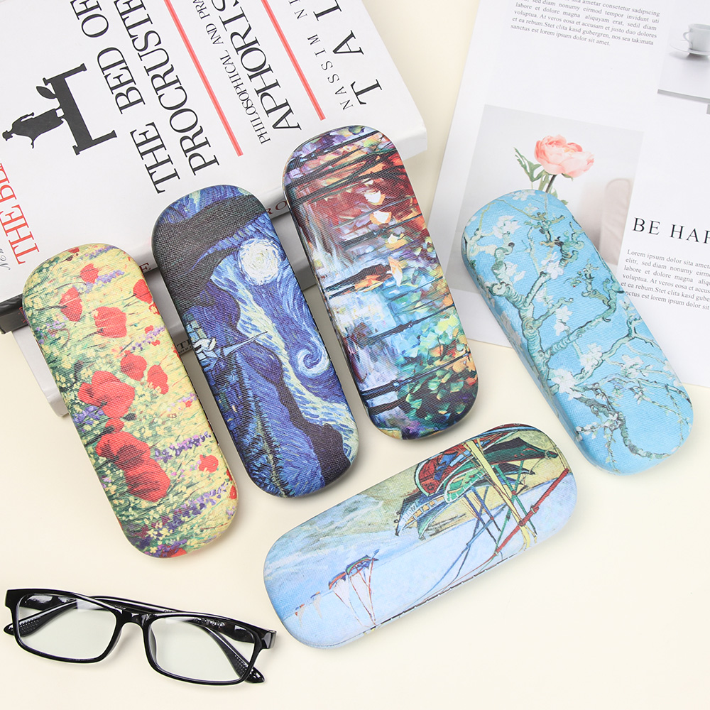 1Pcs Oil Painting Glasses Case Box Women Hard Leather Reading Glasses Case Men Retro Unisex Floral Print Eyewear Protector