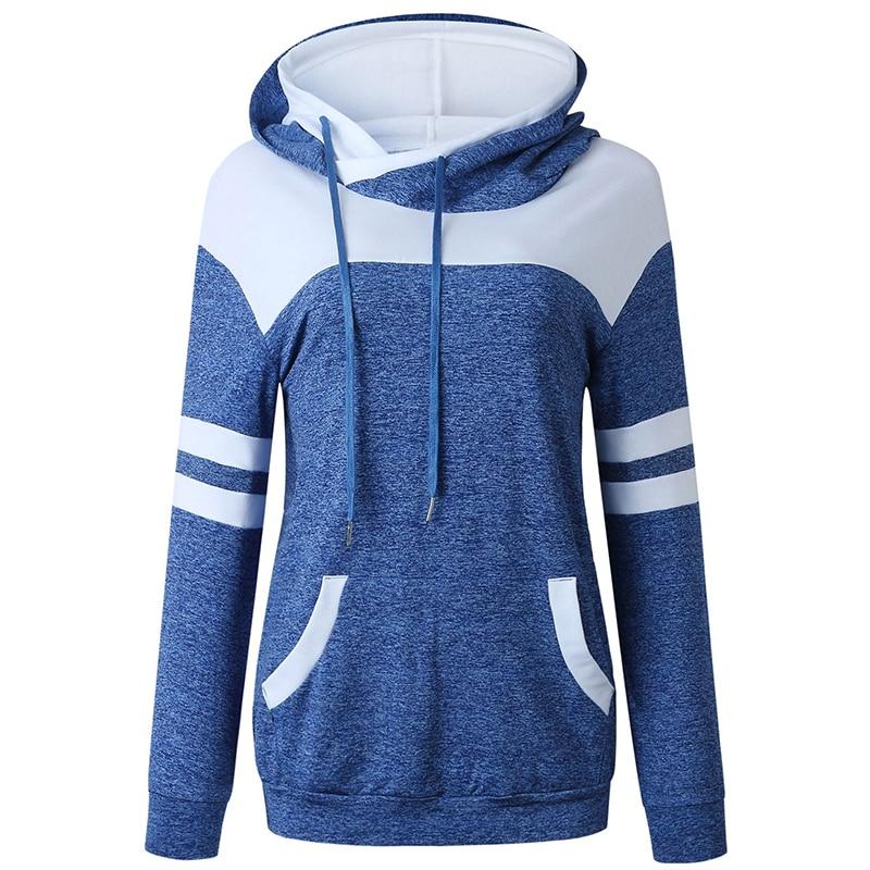 Hoodies Women Sweatshirts Fashion Womens Casual Sweatshirt Patchwork Ladies Hooded Pullover Clothing Sweats Warm