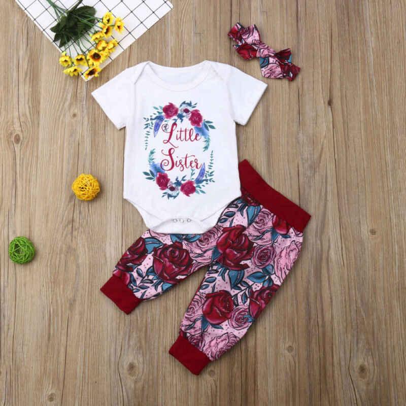 2019 Nieuwe Peuter Baby Kid Meisjes Kleding Set Zusje Rompertjes Grote Zus t-shirts Bloem Meisjes Kostuums Zomer