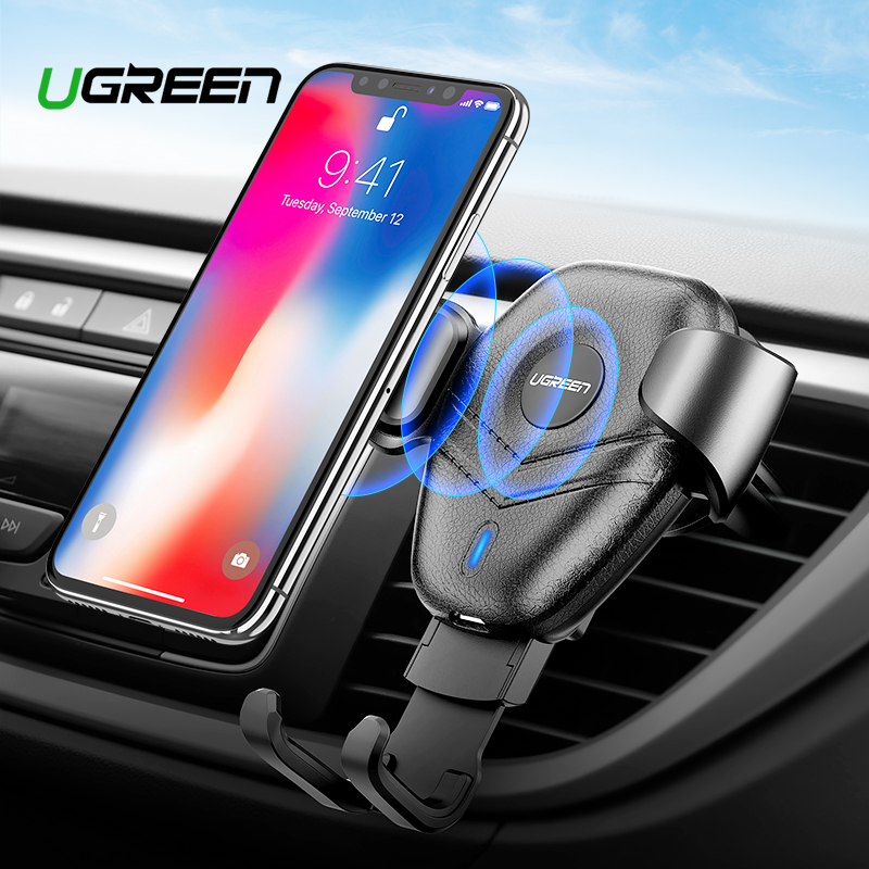 Ugreen Wireless Charger Car Phone Holder for Samsaung S10 S9 Fast Wireless Charging for iPhone X Xr 8 Xiaomi Qi Wireless Charger