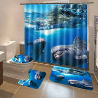 4 Pcs Bathroom Underwater World Shower Curtain Mat Set Toilet Cover 180X180CM Shower Curtain Toilet Seat Covers Home Decor