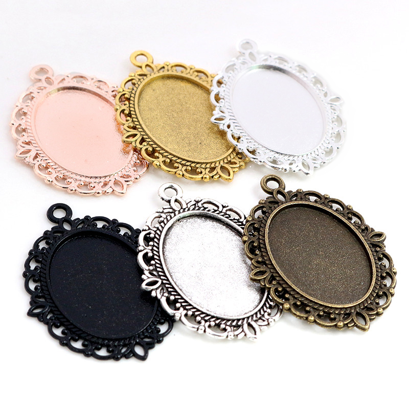 10pcs 18x25mm Inner Size 6 Colors Vintage Style Cameo Cabochon Base Setting Pendant Necklace Findings