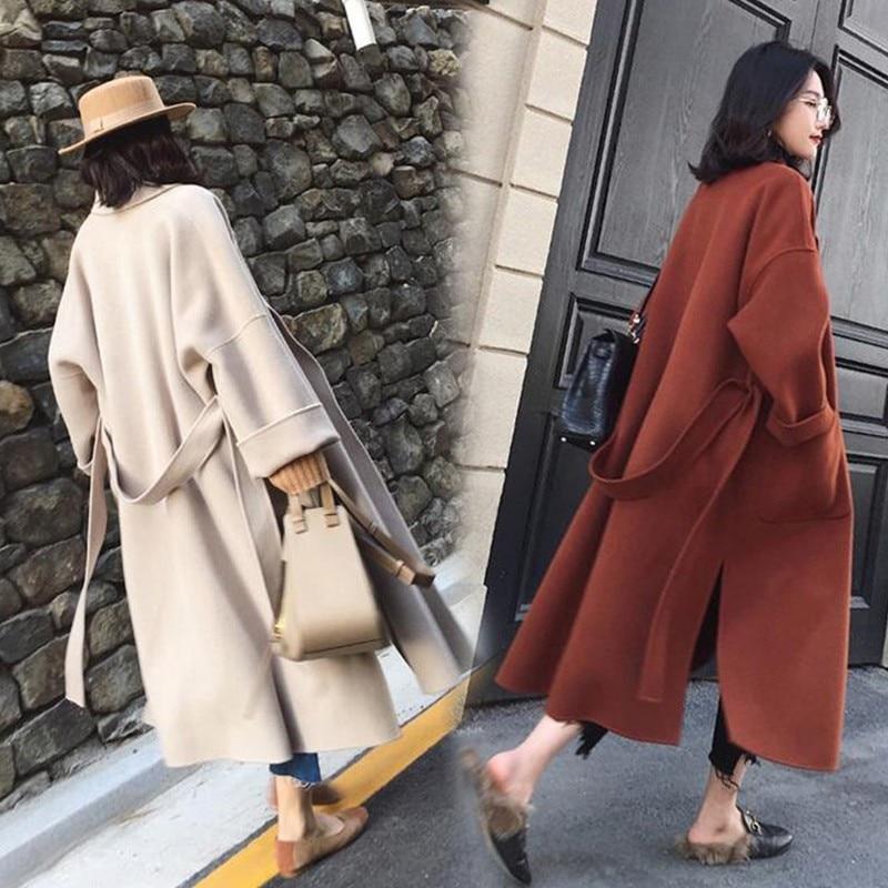 Women's Wool Woolen Long Length Lace Up Coats Turn Down Collar Split Overcoats Outwear Plus Size XXXL 3XL 24