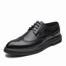 Homens Se Vestem Sapatos de outono Handmade Brogue Estilo Paty Sapatos Formais Sapatos de Casamento Sapatos de Couro Dos Homens Oxfords de Couro Flats
