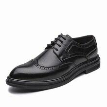 Jesień mężczyźni ubierają buty ręcznie akcentem styl party skórzane buty ślubne mężczyźni mieszkania skórzane oksfordzie formalne buty