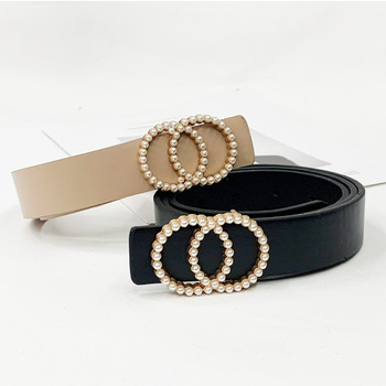 Inlaid Pearl Belts for Women waist Luxury Simple High Quality PU leather Belt jeans Belts for Dress studded buckle girls 2020