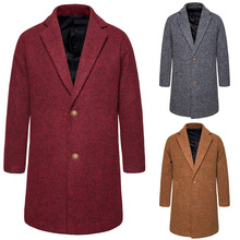 Mens Trench Coat Wool Slim Fit Long Men Coats