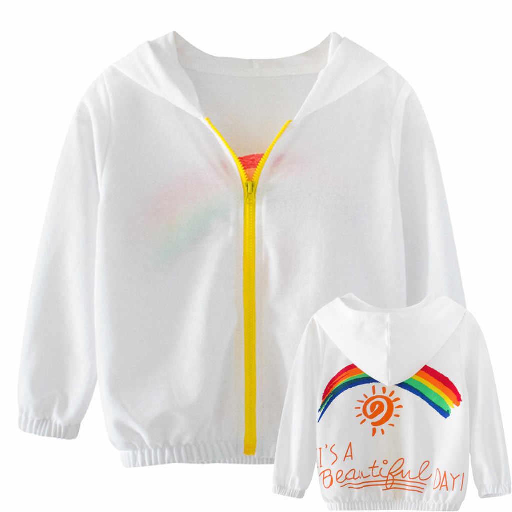 Детская куртка детей одежда с длинными рукавами для мальчиков и девочек пальто с радужным принтом малыш осень-зима ветровка верхняя одежда 2019