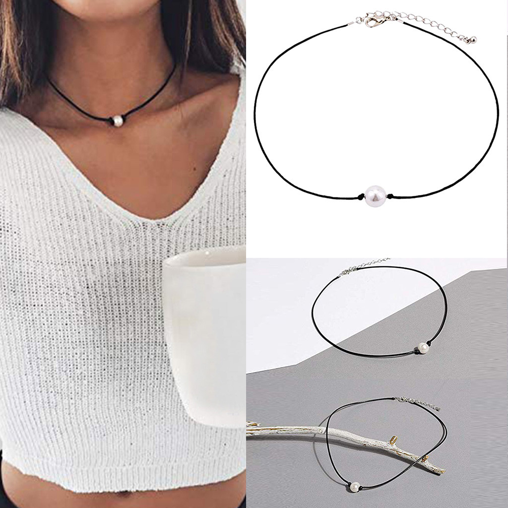 Fashion Women  Necklace Choker Single Pearl Leather Cord Handmade Chin Jewelry Gift