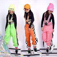 Детские костюмы для джазовых танцев; черные топы; свободные штаны; одежда в стиле хип-хоп; современные танцевальные костюмы для бальных танцев; детская одежда для сцены; уличная одежда; DQS295