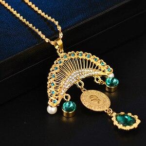 Image 2 - Collar con colgante turco islámico musulmán para mujer, joyas con monedas de cristal, estilo étnico árabe, Oriente Medio