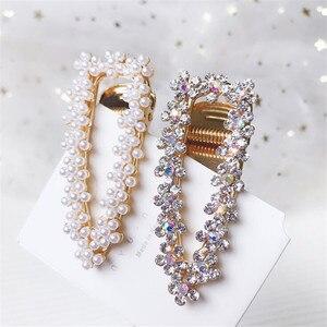 Girl Pearl Crystal Hair Clips Temperament Full Diamond Rhinestone Pearl Elegant Barrettes Hairgrips Women Hair Accessories