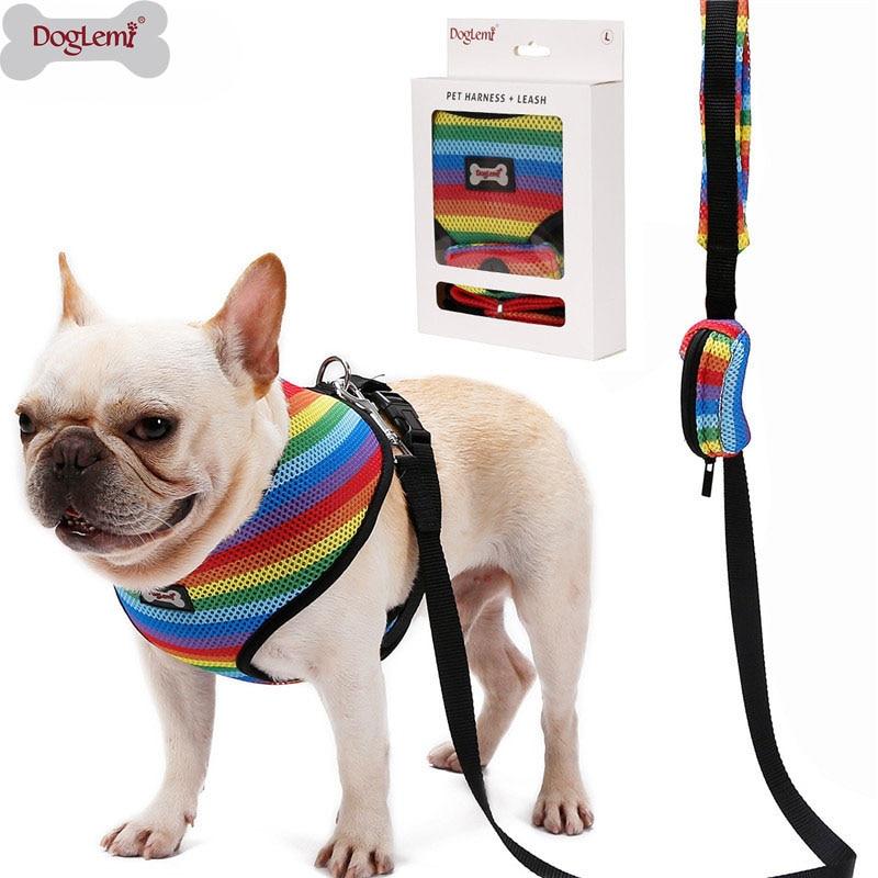 Dog Harness Leash Set With Poop Bag Soft Breathable Rainbow Mesh French Bulldog Vest Adjustable Jogging Pet Leash Harness SP