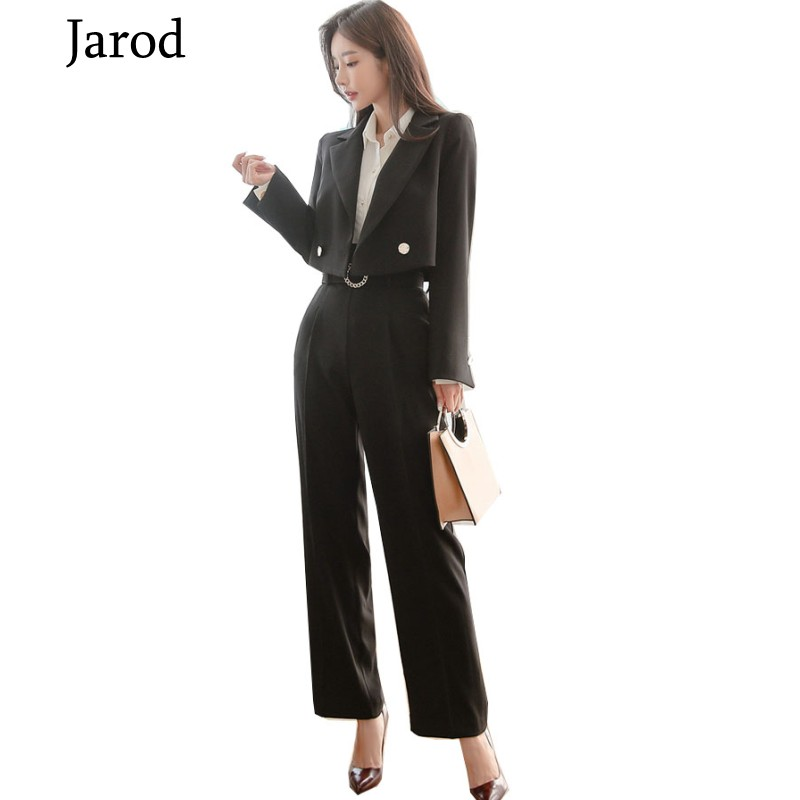 High Quality Women Spring Office Two Piece Set Long Sleeve Notched Short Coat+OL Pants Ladies Korean Sets Suits Women Clothing