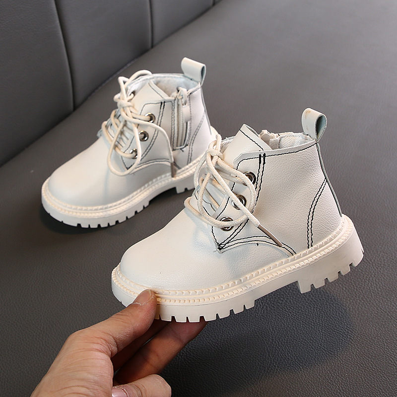 Fashion PU Leather Boot New Winter Children's Shoes Princess Girls Anti Slip Foot Warmer Fashion Snow Martin Boots 1-3 Years Old