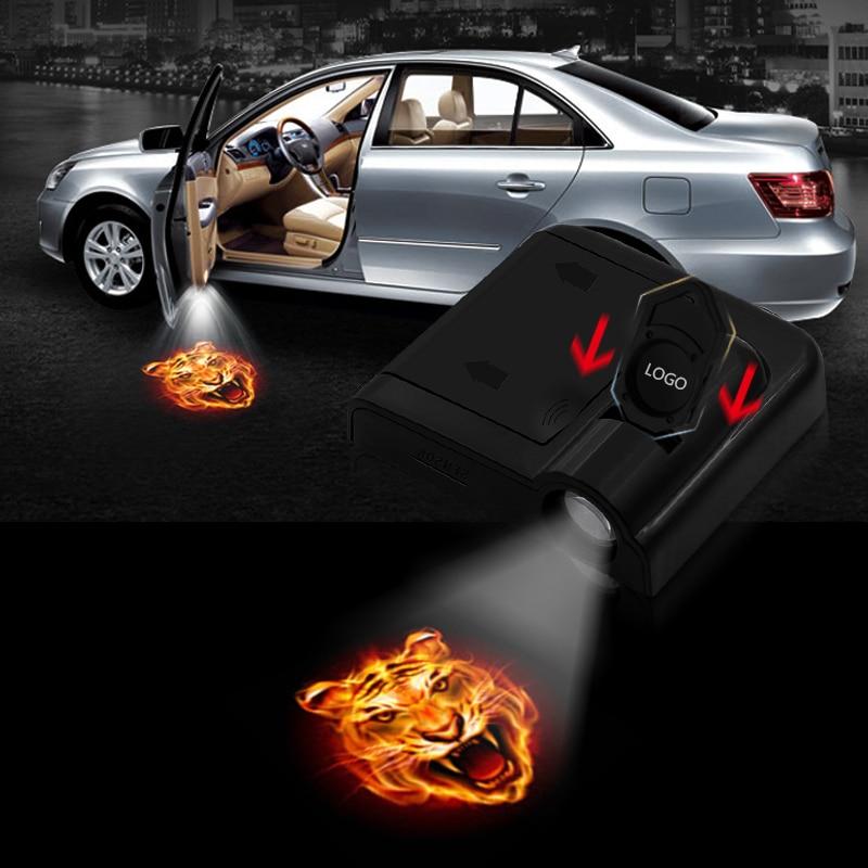 2pcs Shadow Lamp Projector Light Car Led Wireless Door Logo Light Welcome Decor Lamp Laser Atmosphere TIGER Car Light