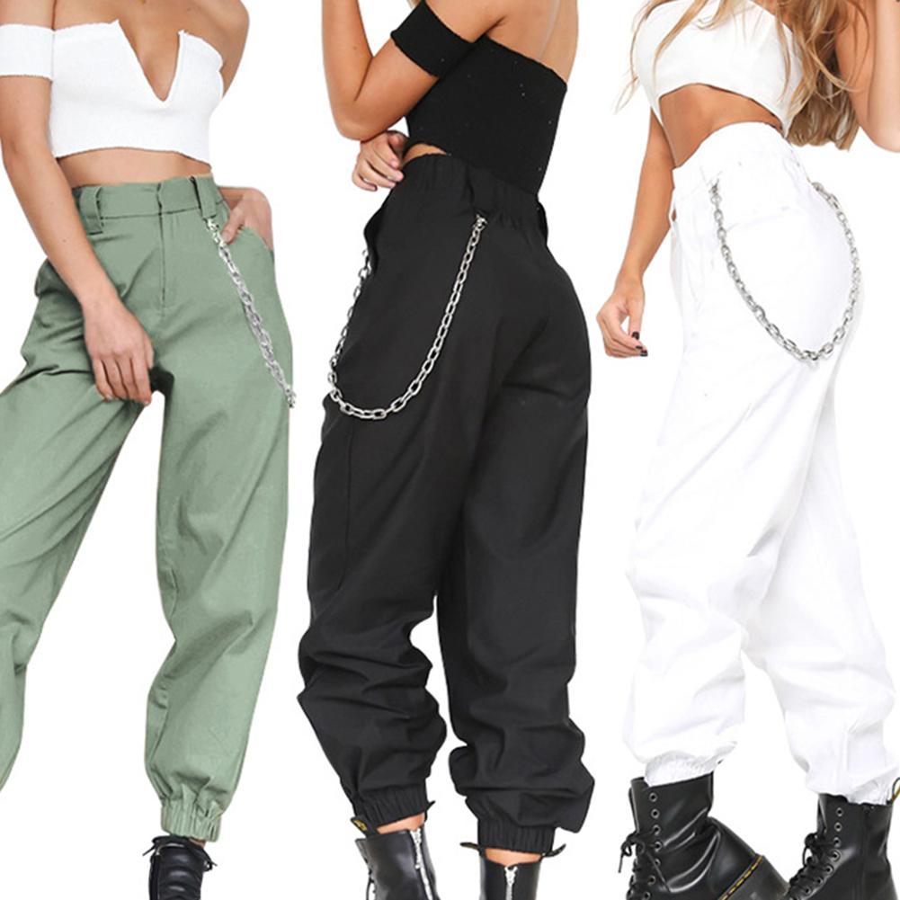Streetwear Cargo Pants Women Casual Joggers Black High Waist Loose Female Trousers Korean Ladies Pants Capri Polyester Pants