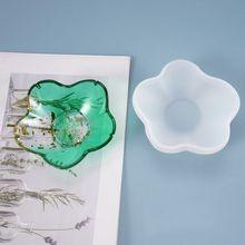 Diy resina de cristal epóxi molde prato pétala pequeno prato decoração balanço mesa armazenamento espelho silicone molde