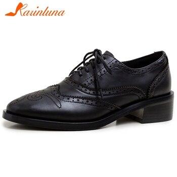 Karinluna 2020 Hot Sale Genuine Cow Leather Brogue Shoes Woman Pumps Pigskin Lace-Up Spring Casual Pumps Women Shoes