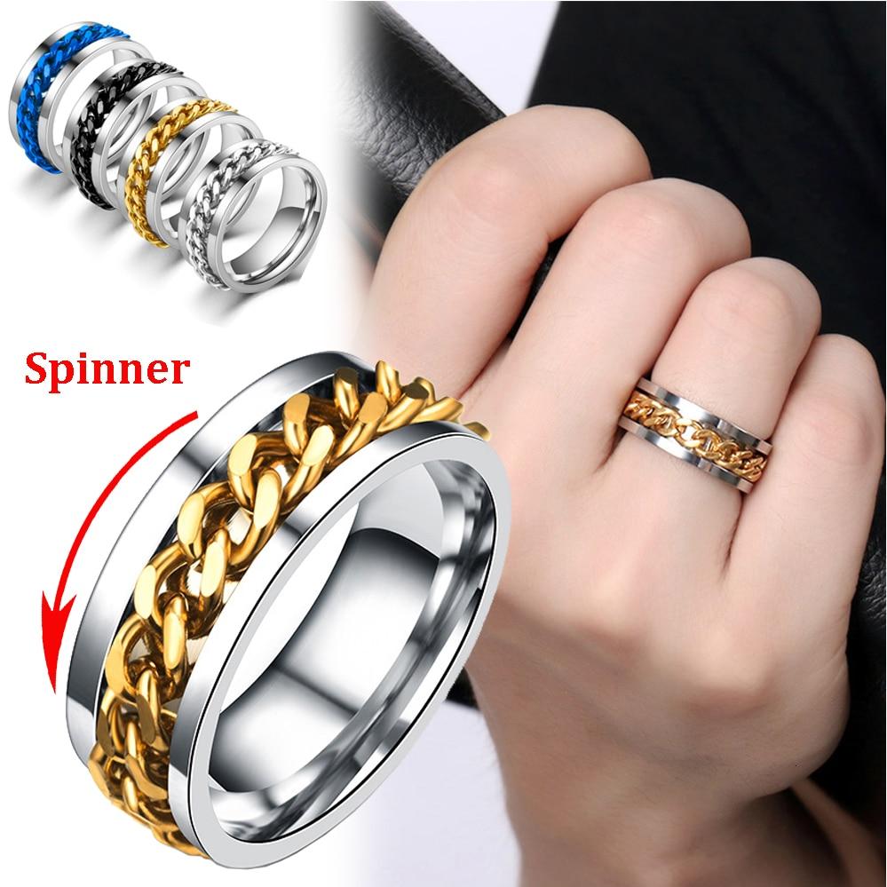 Ins Fashion Rotatable chain Rings For Women Men Spinner Ring Stainless Steel Chain Ring Men's Titanium Steel Bottle Opener Ring