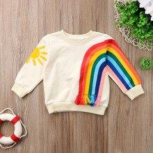 Модная детская футболка с принтом радуги и солнца для маленьких девочек, одежда, хлопковая блузка, свитер, свитер, кардиган