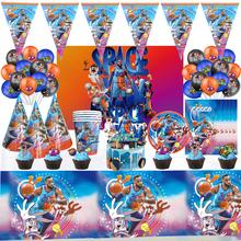Dla 10 osób Space Jam zaopatrzenie firm dekoracje na imprezę urodzinową chłopcy ulubiona koszykówka jednorazowe zastawy stołowe zestaw balonów tanie tanio Disney CN (pochodzenie) Jednorazowe zestawy stołowe Ślub i Zaręczyny Chrzest chrzciny Na Dzień świętego Patryka