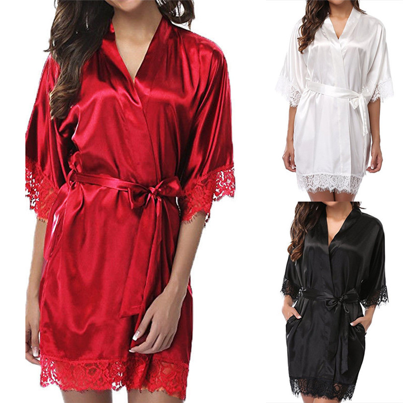 Women Short Satin Bride Robe Sexy Dressing Gown Lace Silk  Bathrobe Summer Bridesmaid Nightwear