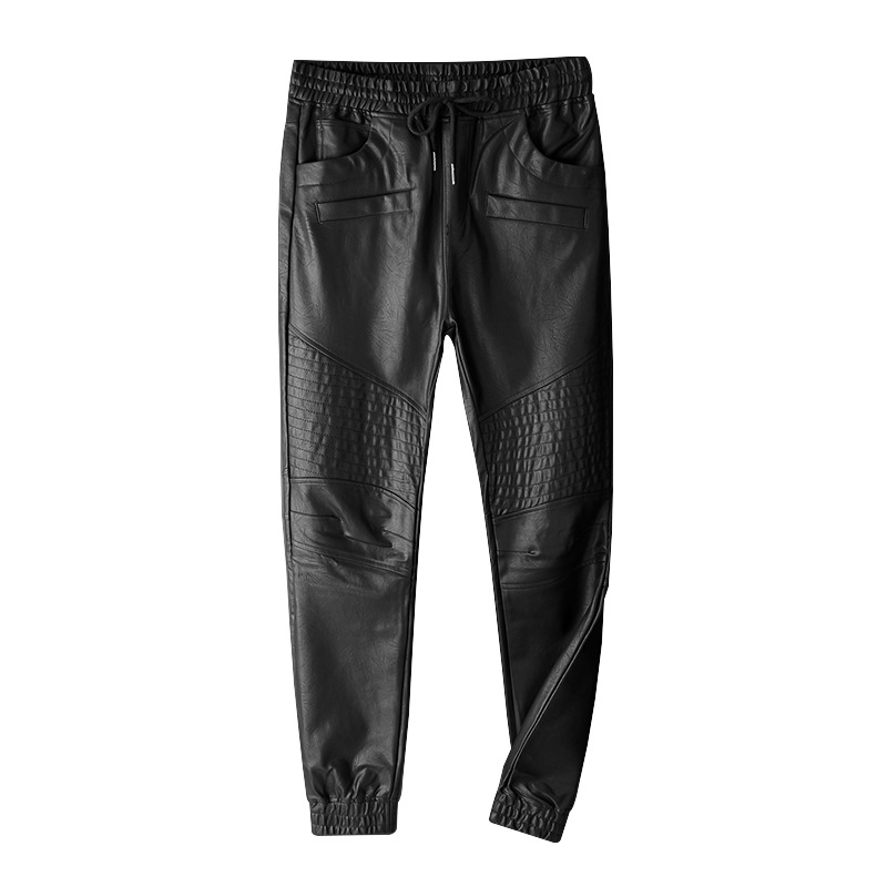Top Quality New France Style Mens Ripped Moto Pants Ribbed Skinny Black PU Leather Biker Slim Trousers Pencil Pants Size S-5XL