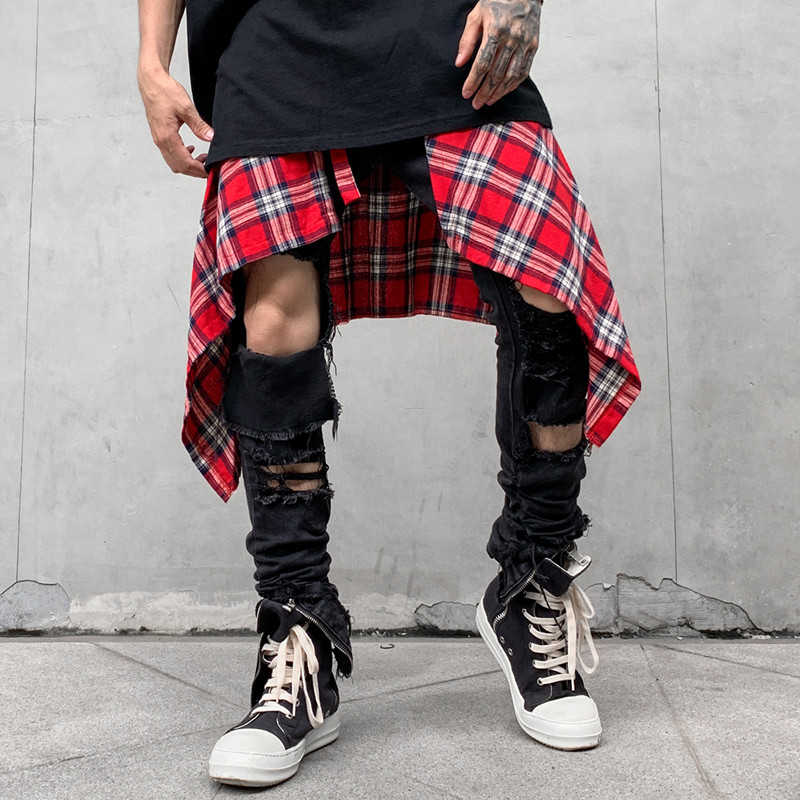 Baggy Scottish Tartan Shorts Skirts Men Irregular Hemline Hip Hop Waist Plaid Skirt Women Urban Streetwear Dance Skirts For Male