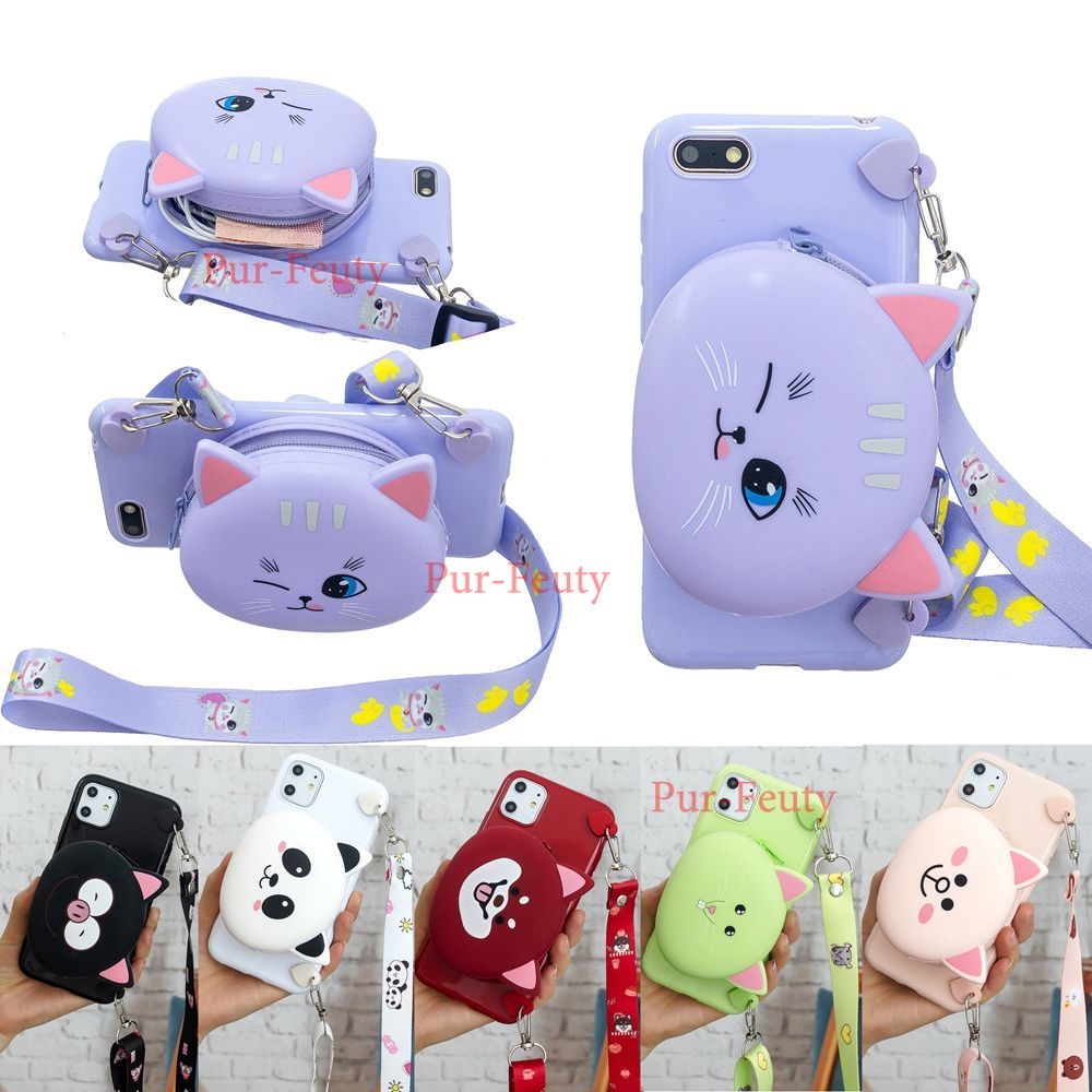 for <font><b>Huawei</b></font> <font><b>Y5</b></font> <font><b>2018</b></font> <font><b>Case</b></font> Cartoon Panda Cat Silicone cute cartoon Wallet Cover for Honor 7A dua-l22 Earphone <font><b>Case</b></font> Lanyard Women image