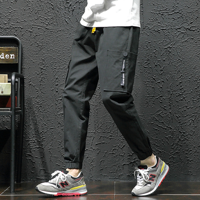 Large Size Simple Light Bib Overall Men's Popular Brand Hong Kong Style INS Casual Pants Men Loose-Fit Shawn Harem Pants P50 A