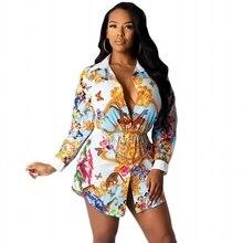 Vintage Shirt Blouse Flower-Print Women Dresses Ruffles-Sleeve Autumn Casual Long Hot