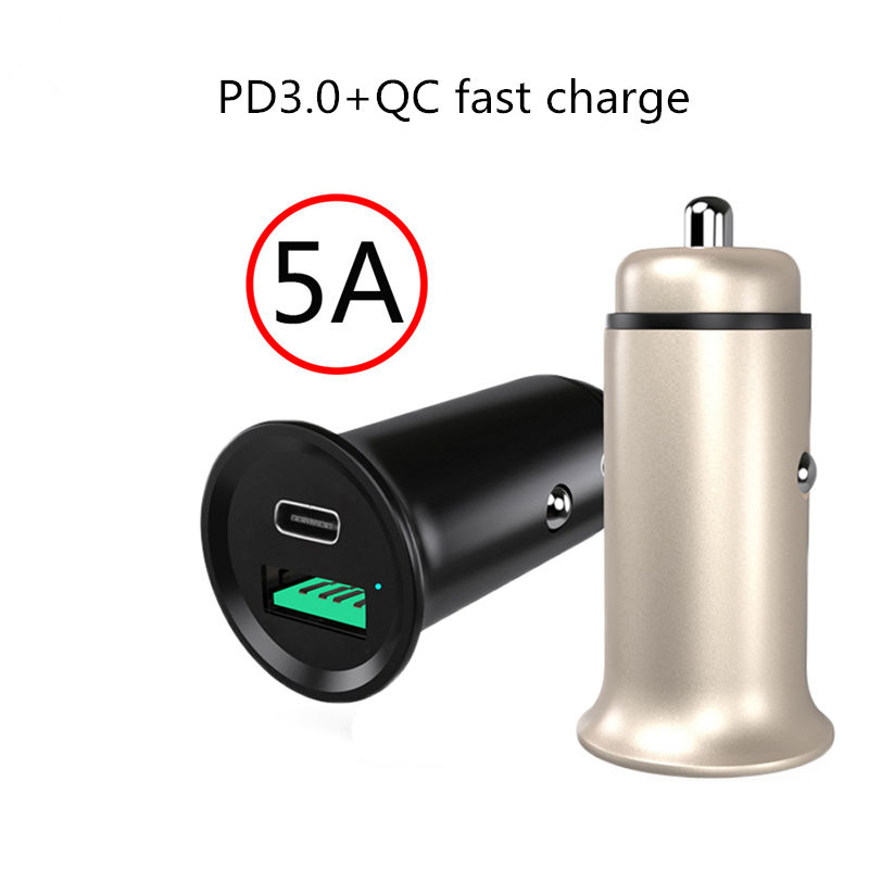PD3.0 Universal Car Charger DC12V-24V For Iphone 11 <font><b>Samsung</b></font> S10 Xiaomi Micro <font><b>USB</b></font> Type <font><b>C</b></font> Fast Car Phone Charger Power Adapter image
