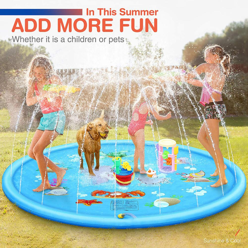 Water Play Mat 170cm Summer Outdoor Cartoon Spray Kids Sea Animal Sprinkle Pad Water Spray Carpet Pad Toy Inflatable Toys