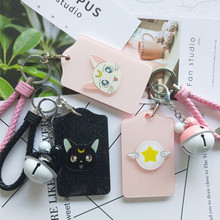 Cartoon Card Captor Sakura Bank Bus ID Bag Bell Set Cosplay Holder Charms Trinkets Pendant Keychain Key Ring Gift(China)