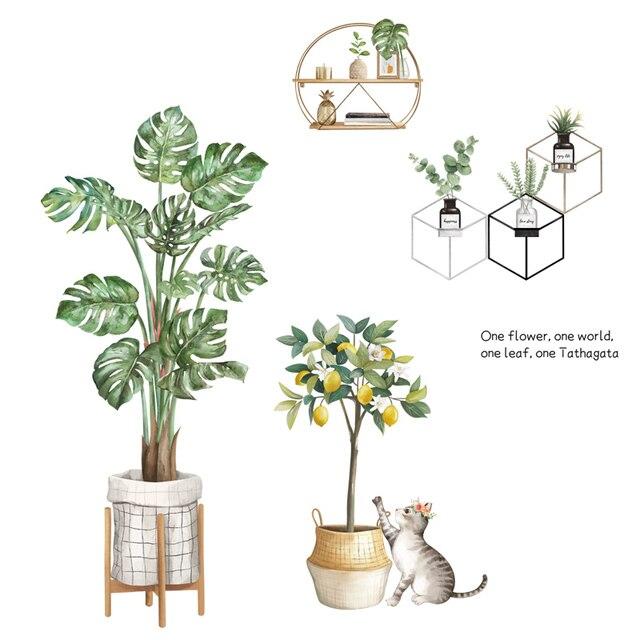 Купить зеленые растения наклейки на стену монстера горшечные листья картинки цена