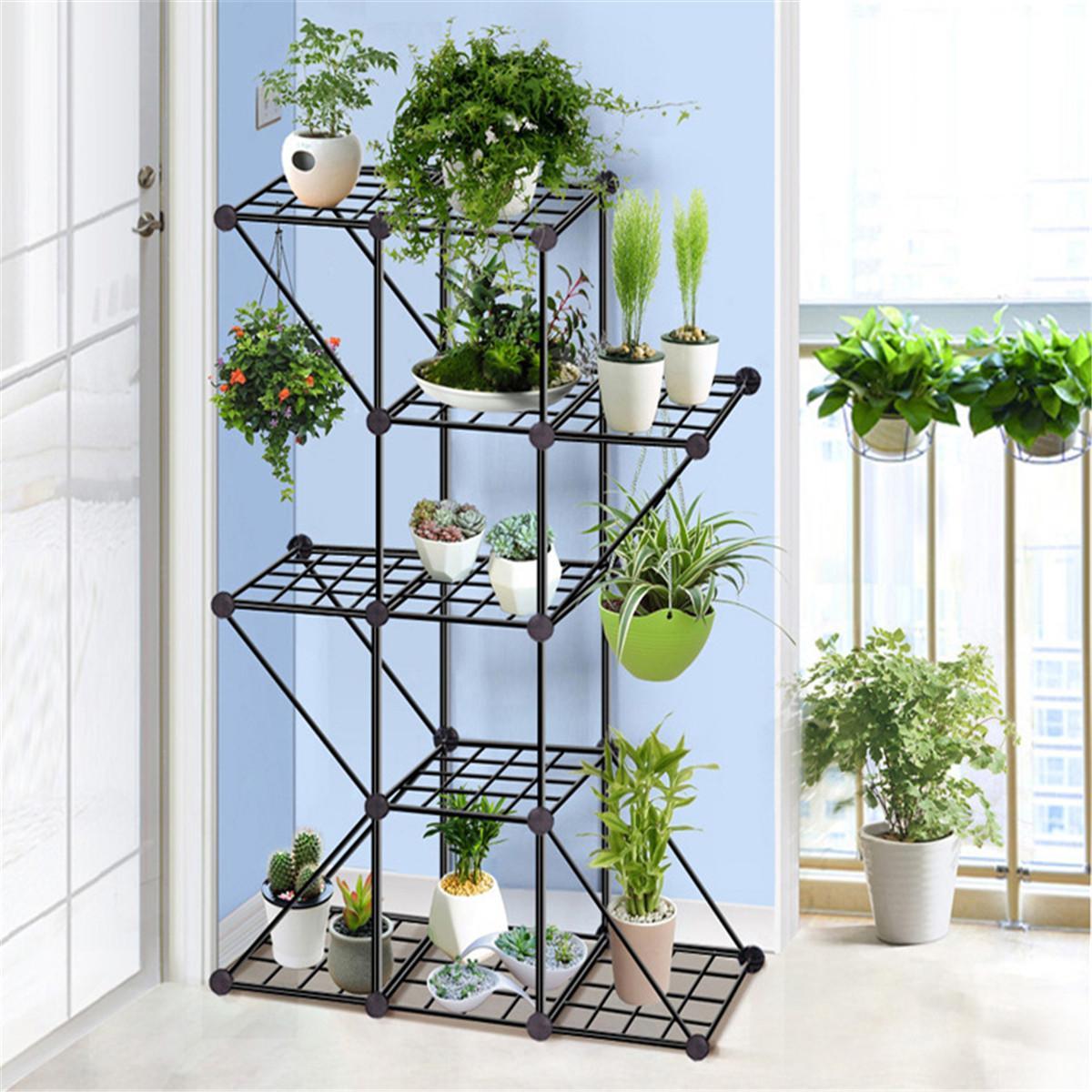 Wrought Iron Balcony Living Room Interior Modern Decoration Floor-standing Multi-layer Flower Shelf Storage Flower Pot Shelf