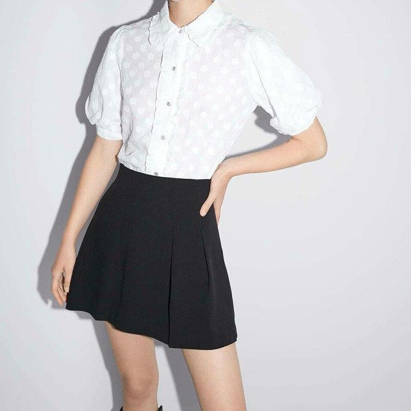 Короткие твидовые юбки с высокой талией и оборками, зимние Деловые женские мини-юбки, Женская Повседневная Уличная Осенняя юбка, Женская