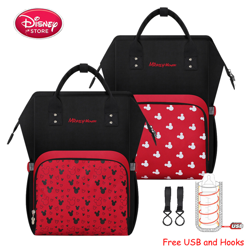 Disney Mickey Mouse USB Charging Mummy Diaper Bags Baby Nappy Nursing Bag For Baby Care Waterproof Travel Maternity Backpack