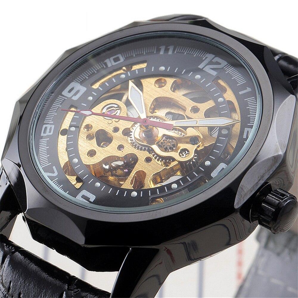 Часы-скелетоны Мужские механические с кожаным ремешком в стиле стимпанк